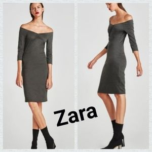 Zara Gray Off Shoulder Dress